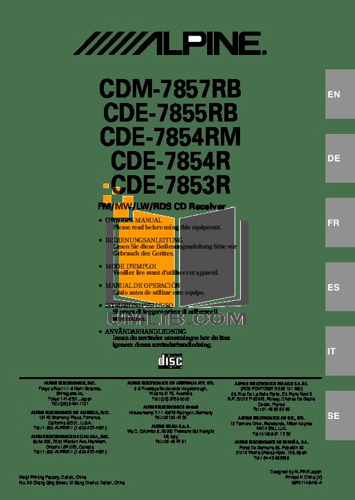 Download free pdf for Alpine CDE-7853 Car Receiver manual
