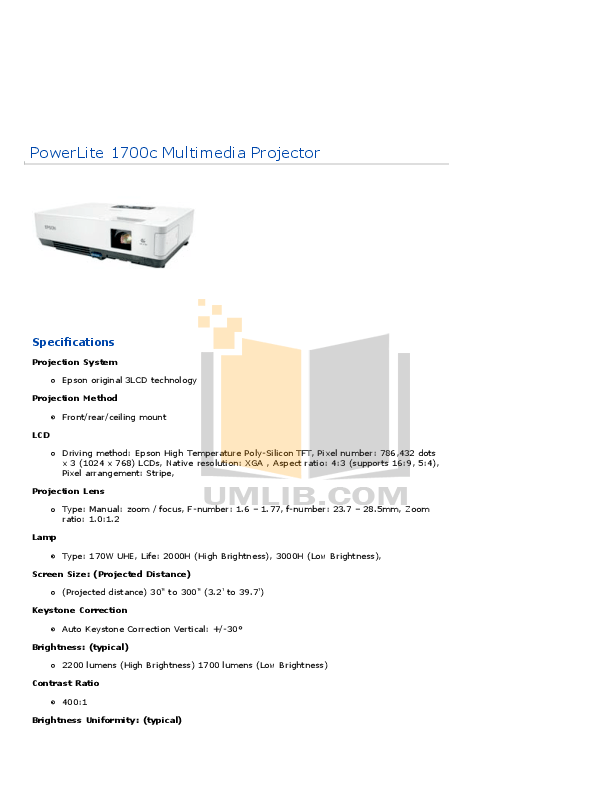 Download free pdf for Epson PowerLite 1700c Projector manual