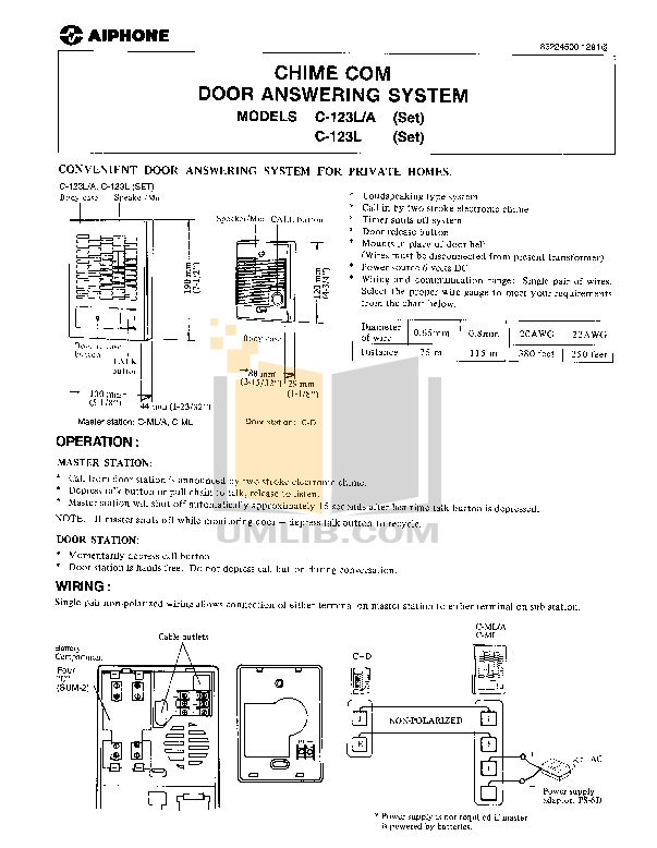 Download free pdf for Aiphone C-123L/A Intercoms Other manual