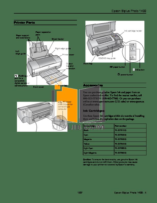 Download free pdf for Epson Stylus Photo 1400 Printer manual