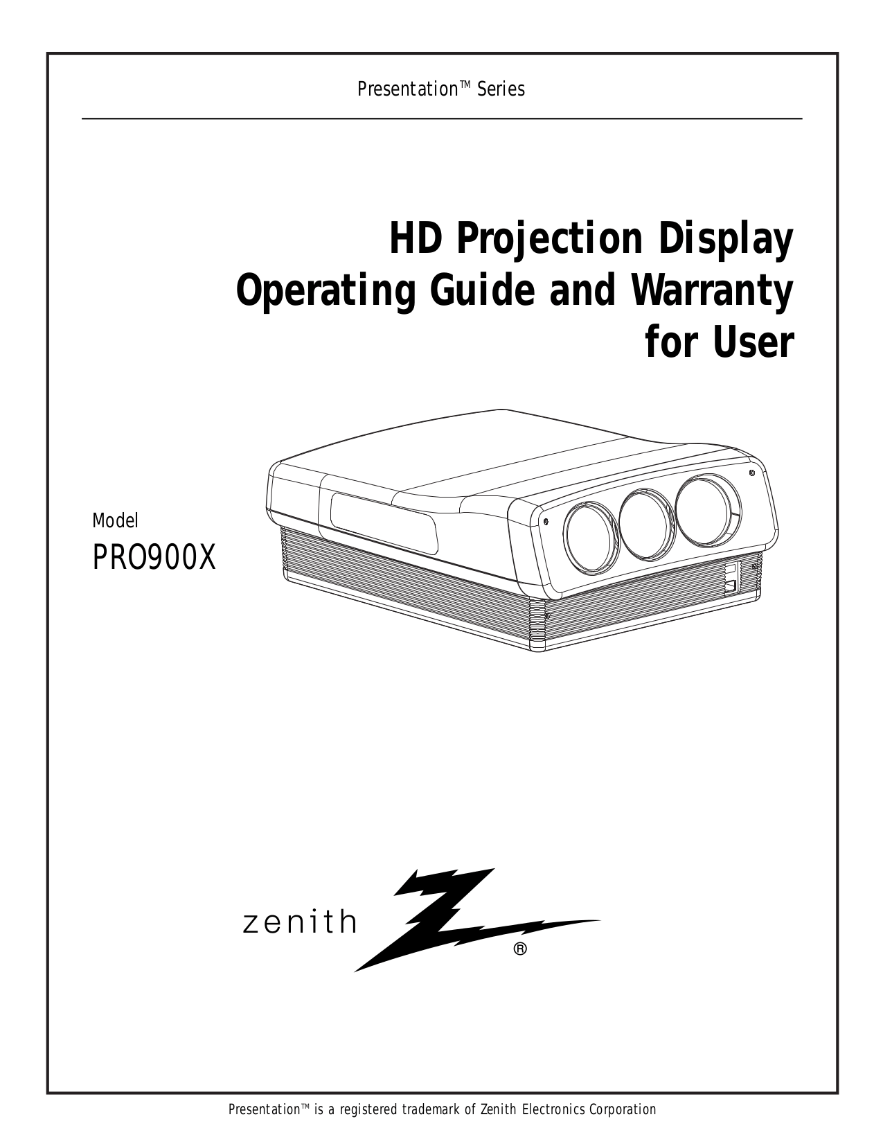Download free pdf for Zenith PRO900X Projector manual