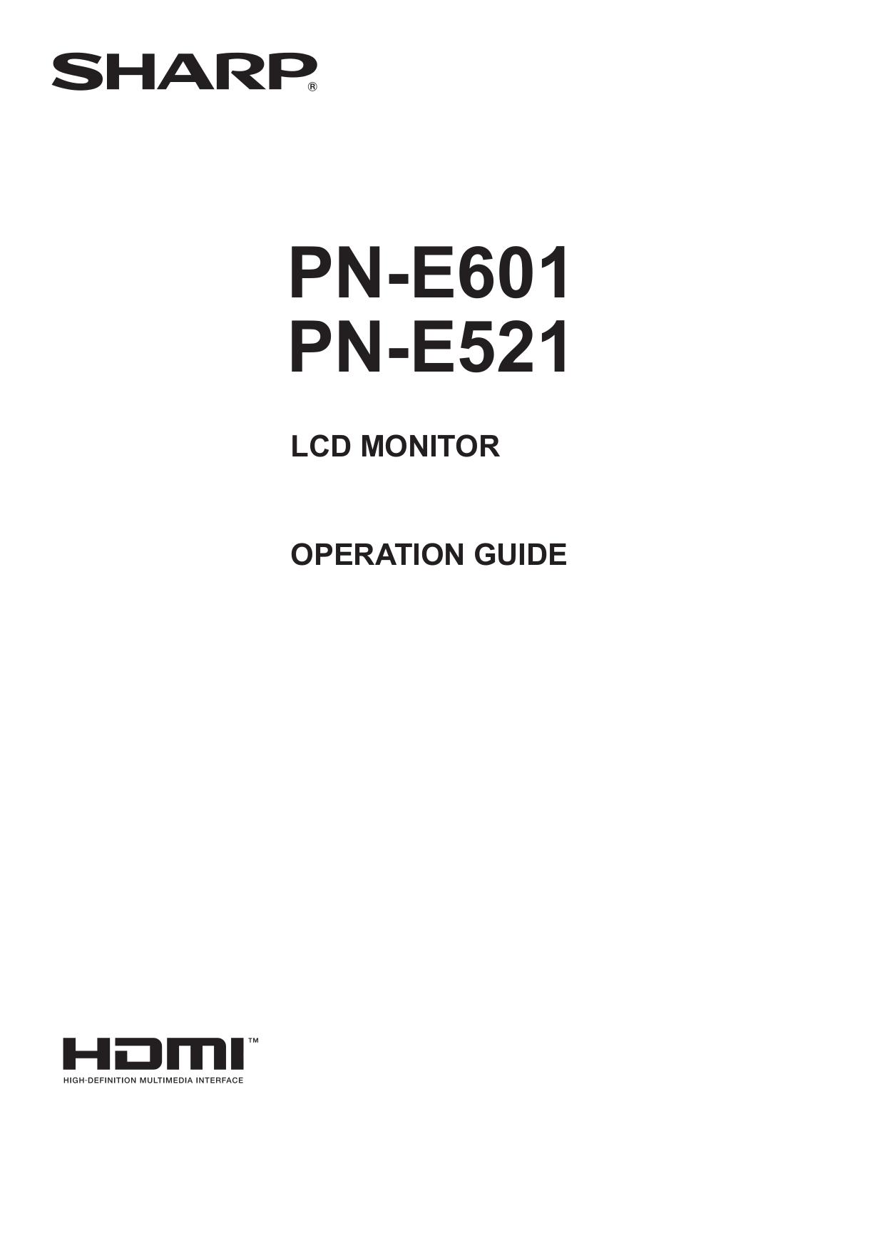 Download free pdf for Sharp PN-E601 Monitor manual