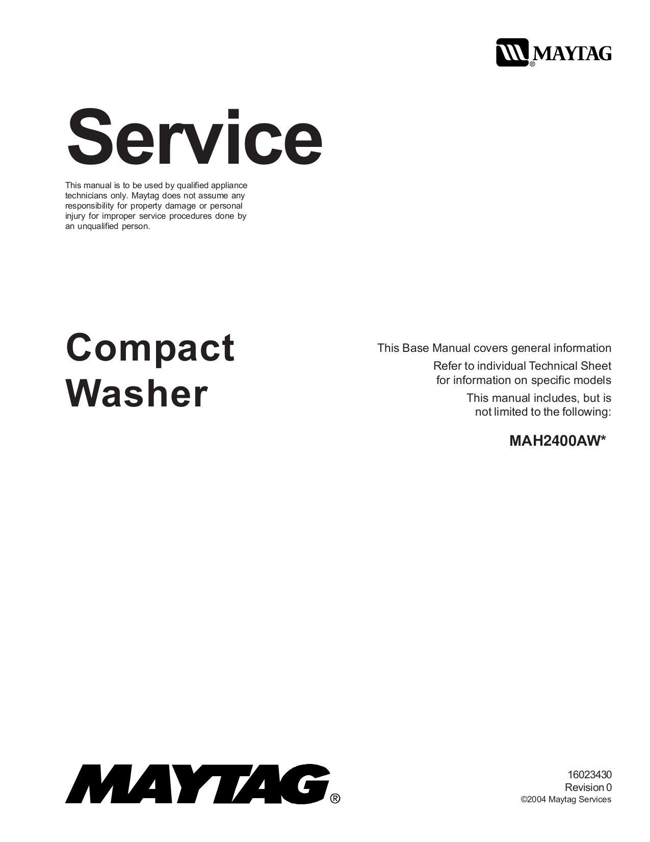 Download free pdf for Maytag MAH2400A Washer manual