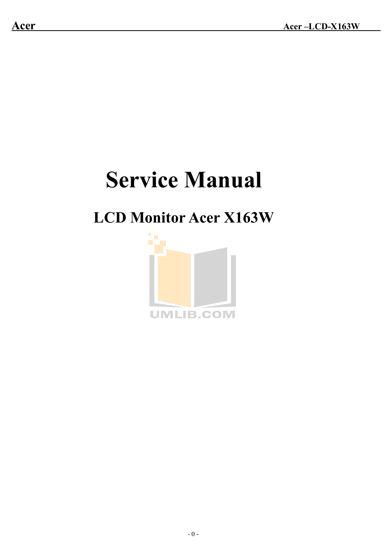 Download free pdf for Acer X163W Monitor manual