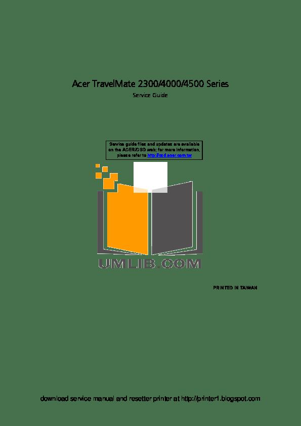 Download free pdf for Acer Extensa 2300 Laptop manual