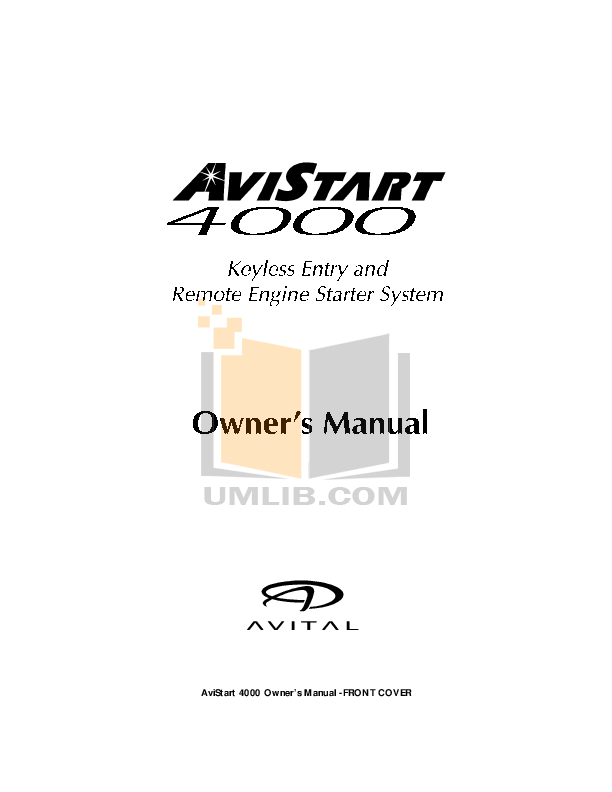 Download free pdf for DEI Avital 4000 Car Alarms Other manual