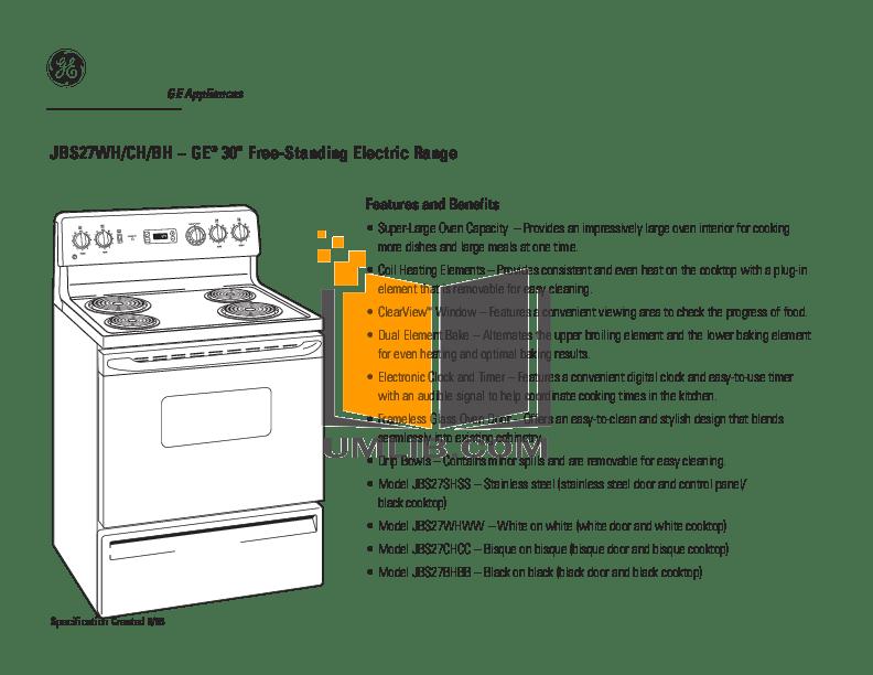 PDF manual for GE Range JBS27CHCC