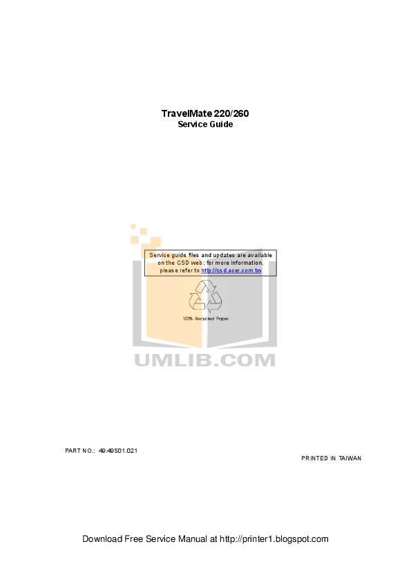 Download free pdf for Acer TravelMate 220 Laptop manual
