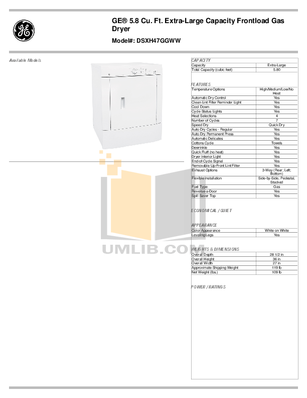 Download free pdf for GE DSXH47GG Dryer manual