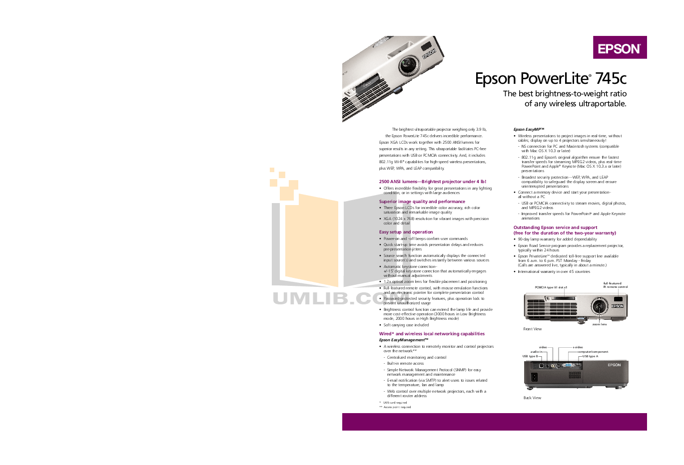 Download free pdf for Epson PowerLite 745c Projector manual