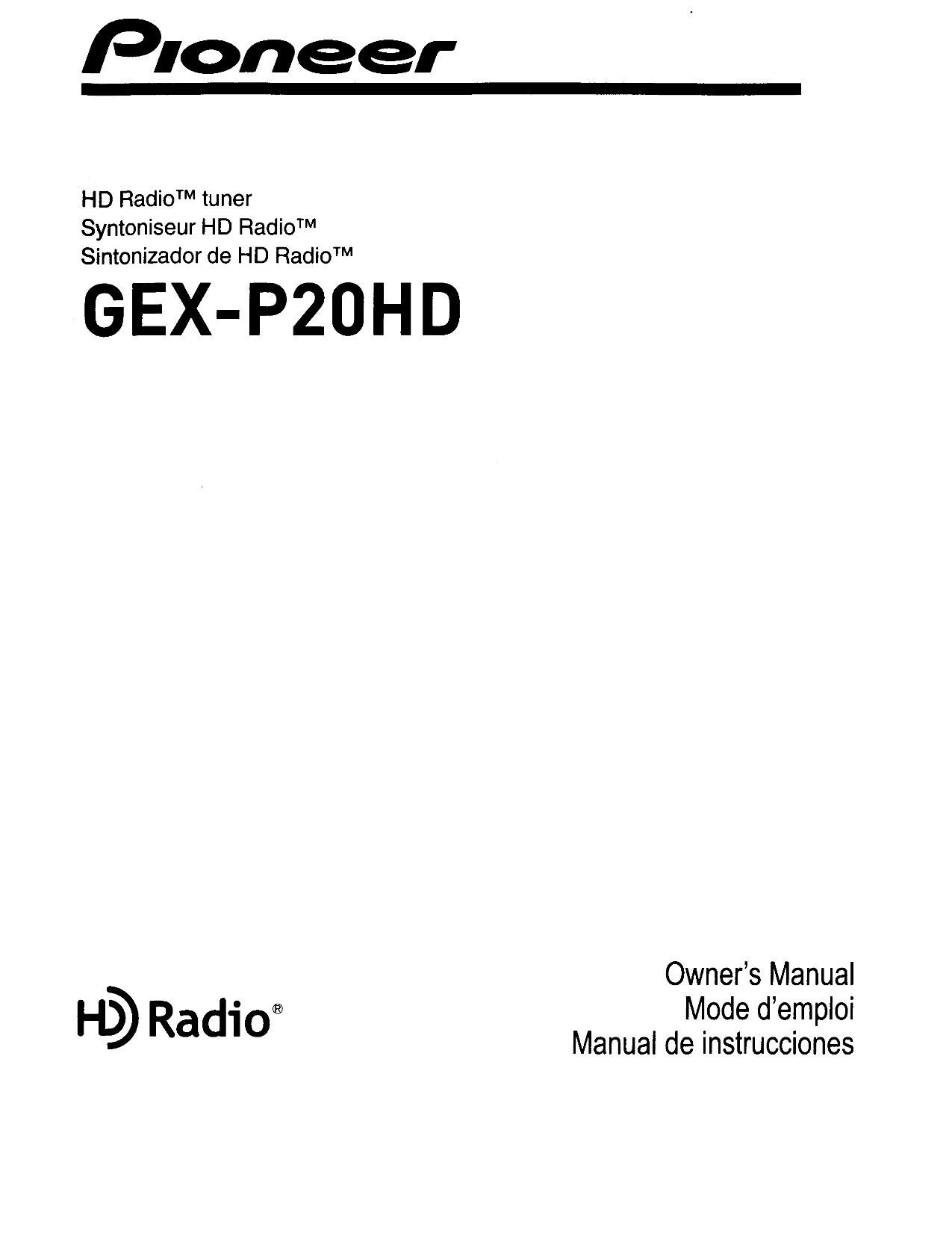 Download free pdf for Pioneer DEH-P2900MP Car Receiver manual