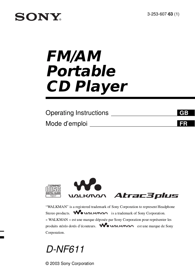Download free pdf for Sony Walkman D-NF611 CD Player manual