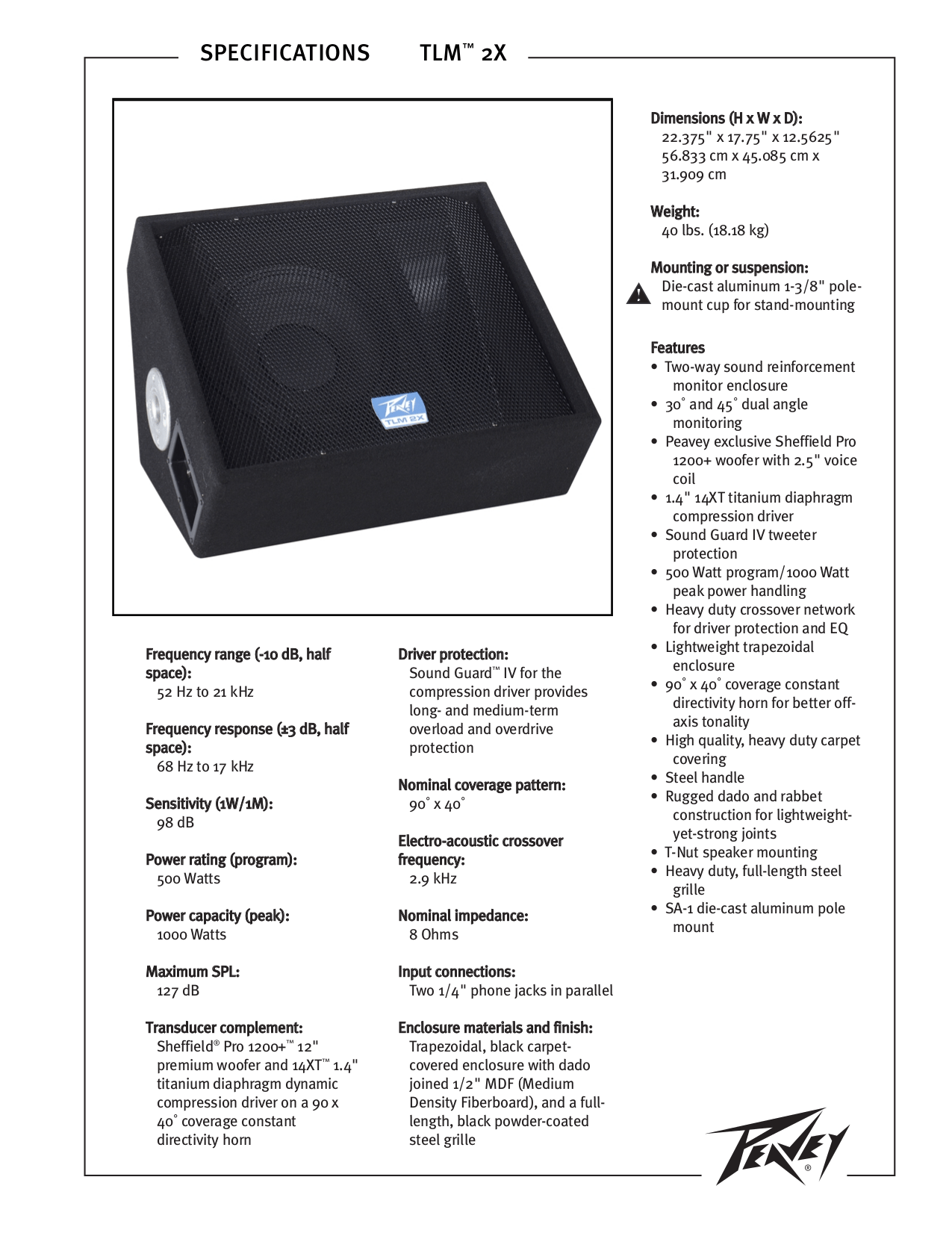Download free pdf for Peavey TLM 2X Speaker manual