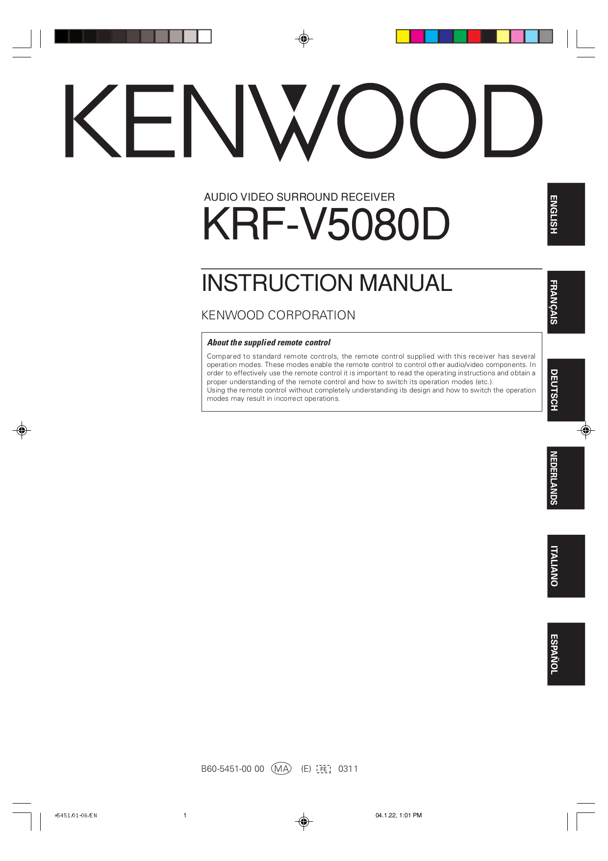 Download free pdf for Kenwood KRF-V5080D Receiver manual
