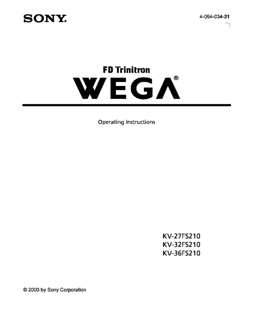 Download free pdf for Sony WEGA KV-27FS210 TV manual