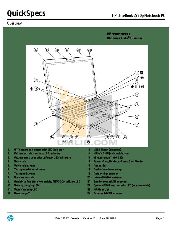 Download free pdf for HP EliteBook 2730p Laptop manual