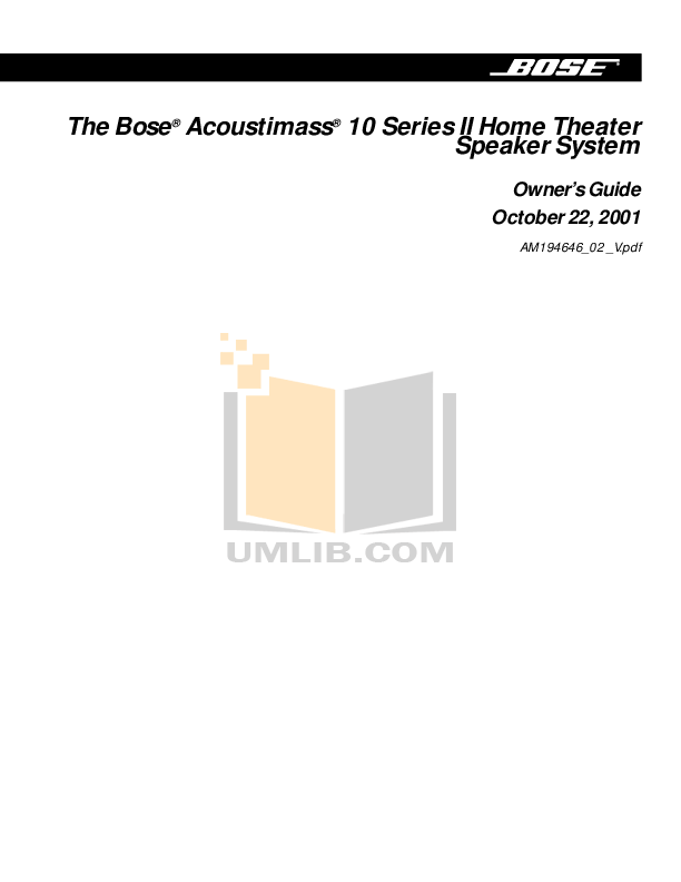 Download free pdf for Bose Acoustimass 10 Series II
