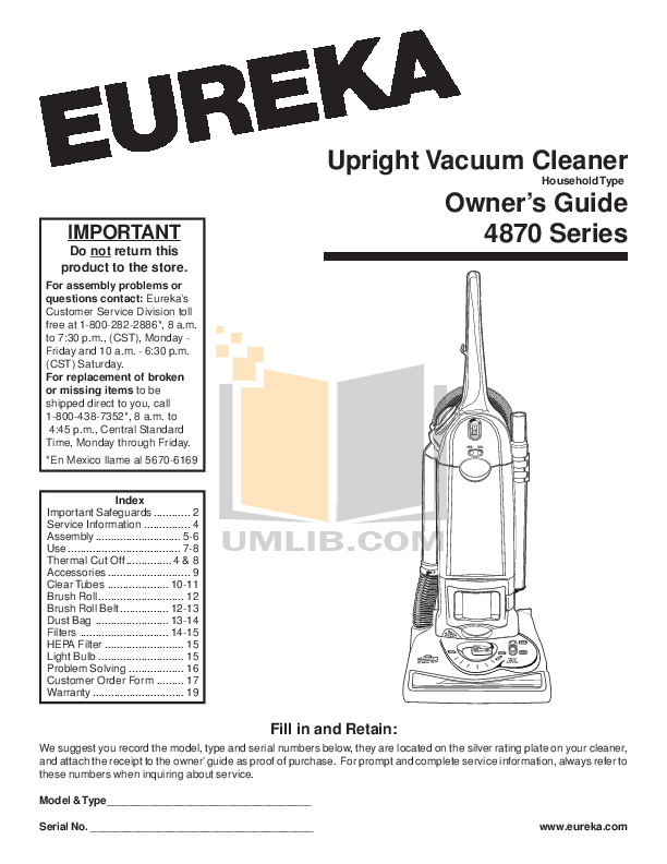 Download free pdf for Eureka Optima 431F Vacuum manual