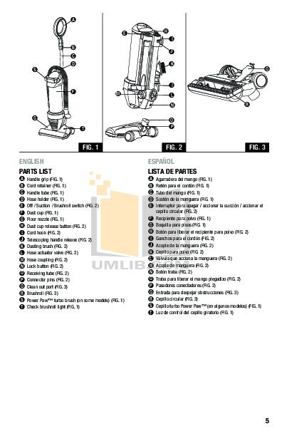 PDF manual for Eureka Vacuum Optima 431F