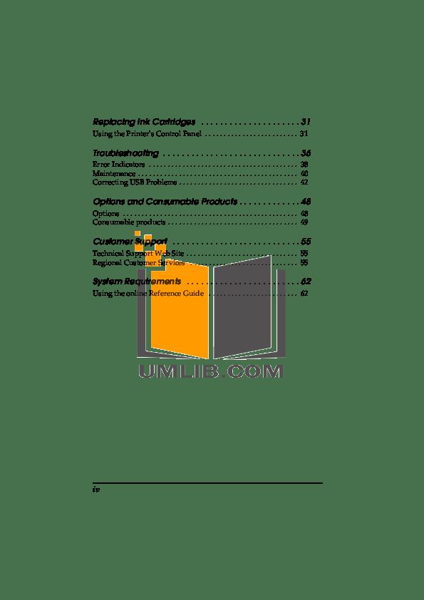 PDF manual for Epson Printer Stylus Photo 890