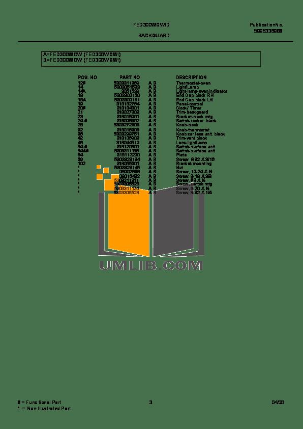 PDF manual for Frigidaire Range FED300WCWI