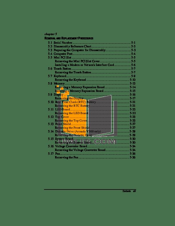 PDF manual for HP Laptop Armada e500