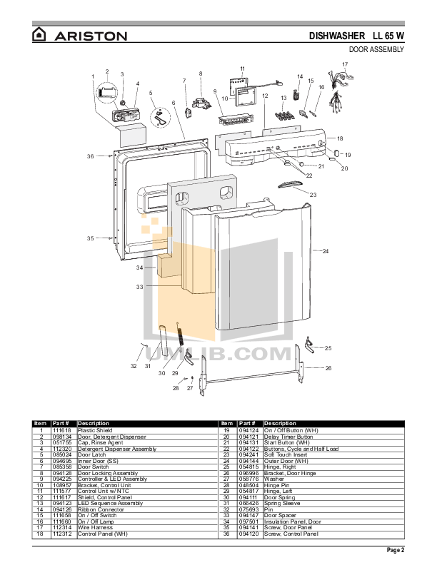 PDF manual for Ariston Dishwasher LL 65 W NA