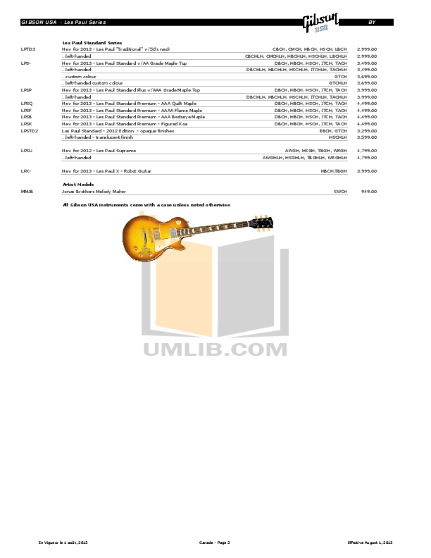 PDF manual for Gibson Guitar 50th Anniversary 1960 Les