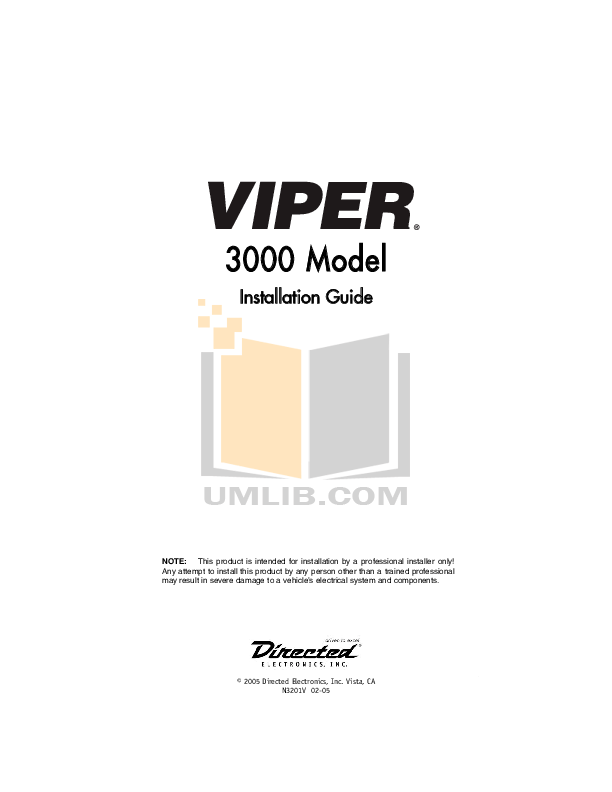 Download free pdf for DEI Viper 3000 Car Alarms Other manual