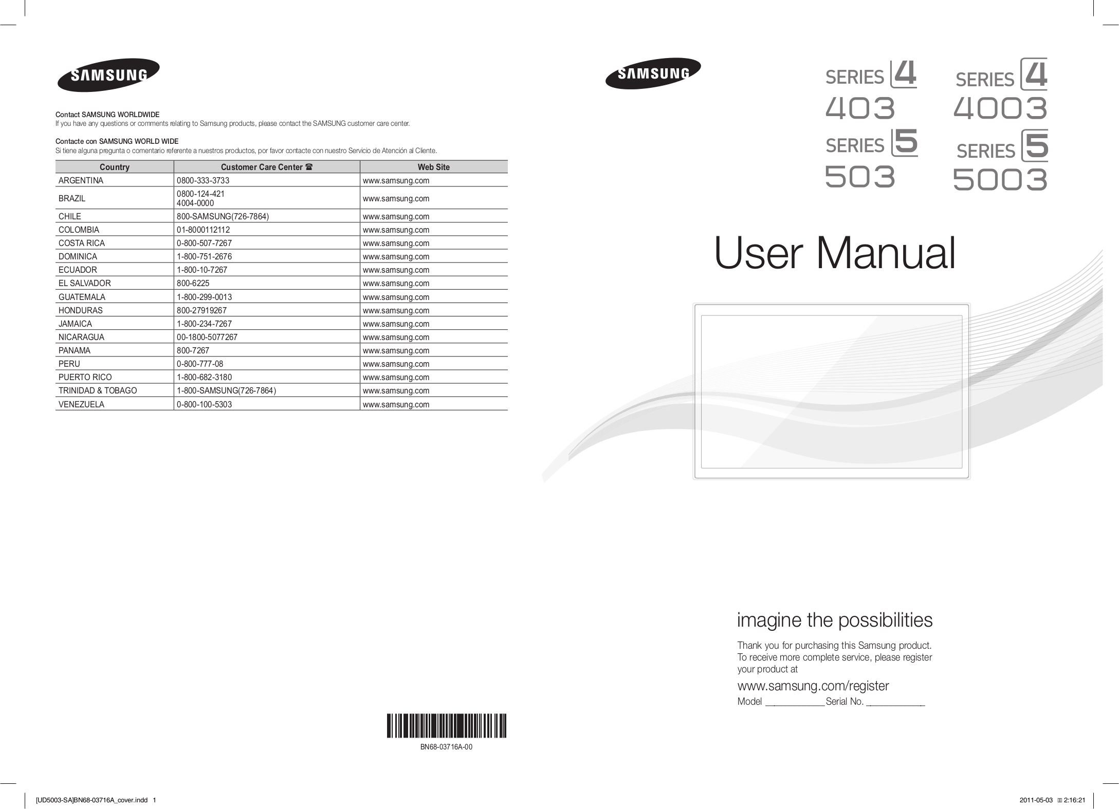Download free pdf for Samsung UN40D5003 TV manual