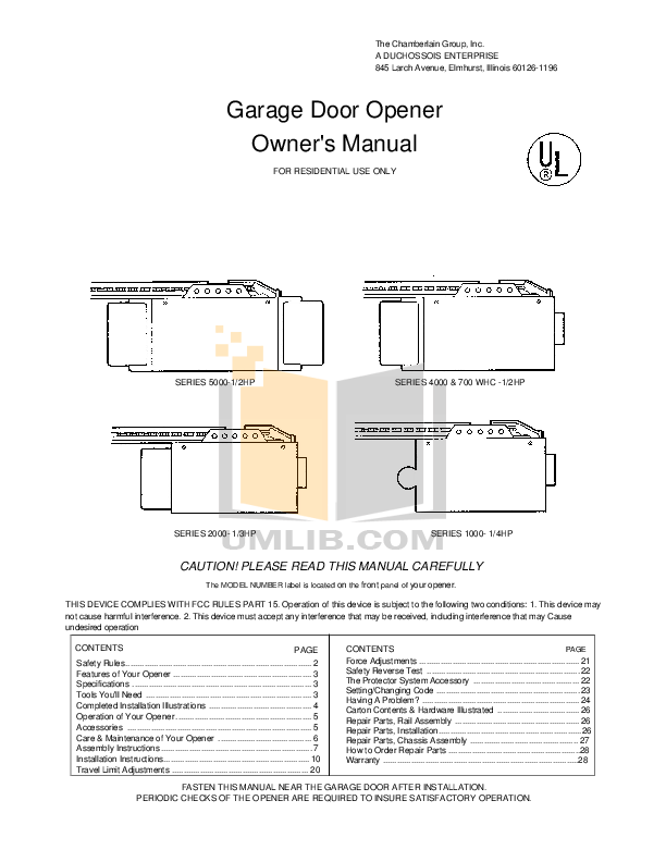 PDF manual for Chamberlain Other 5000E Garage Door Openers