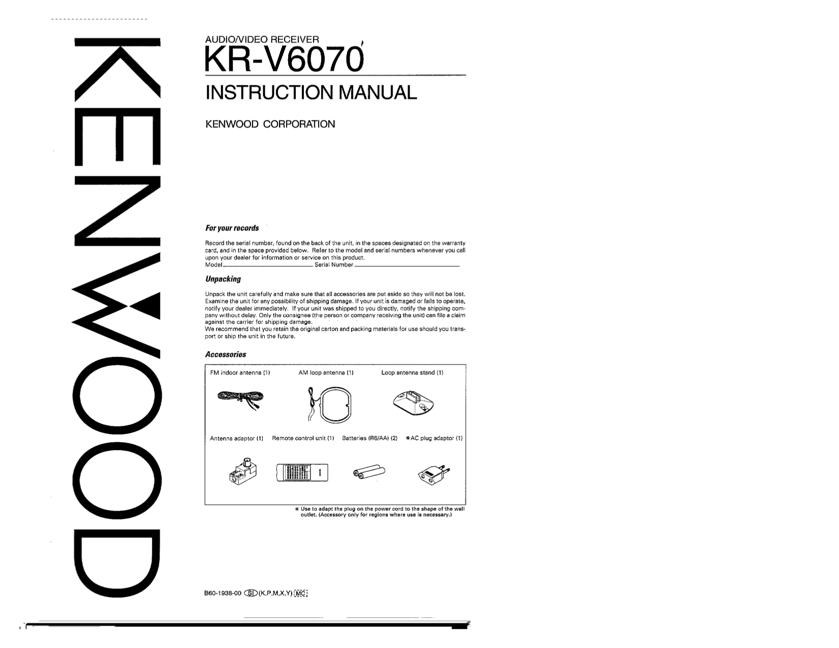 Download free pdf for Kenwood KR-V6070 Receiver manual