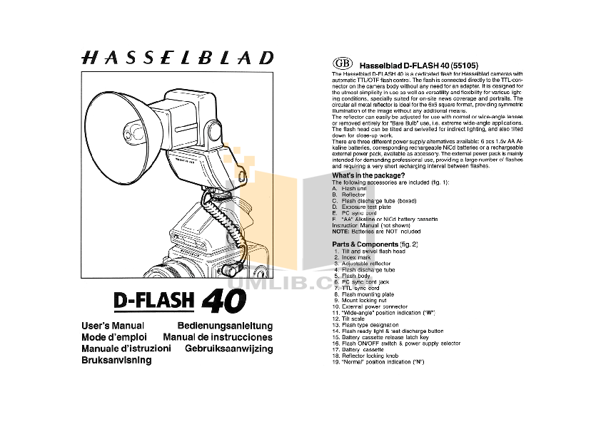 Download free pdf for Hasselblad D-Flash 40 Camera