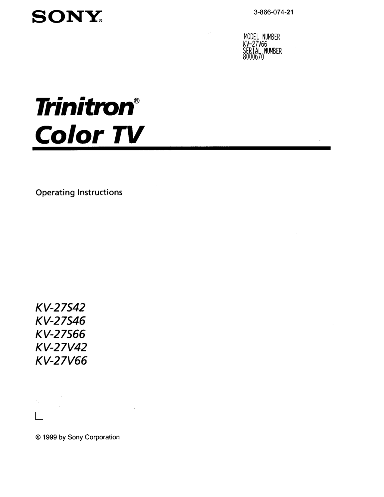 Download free pdf for Sony KV-27V42 TV manual