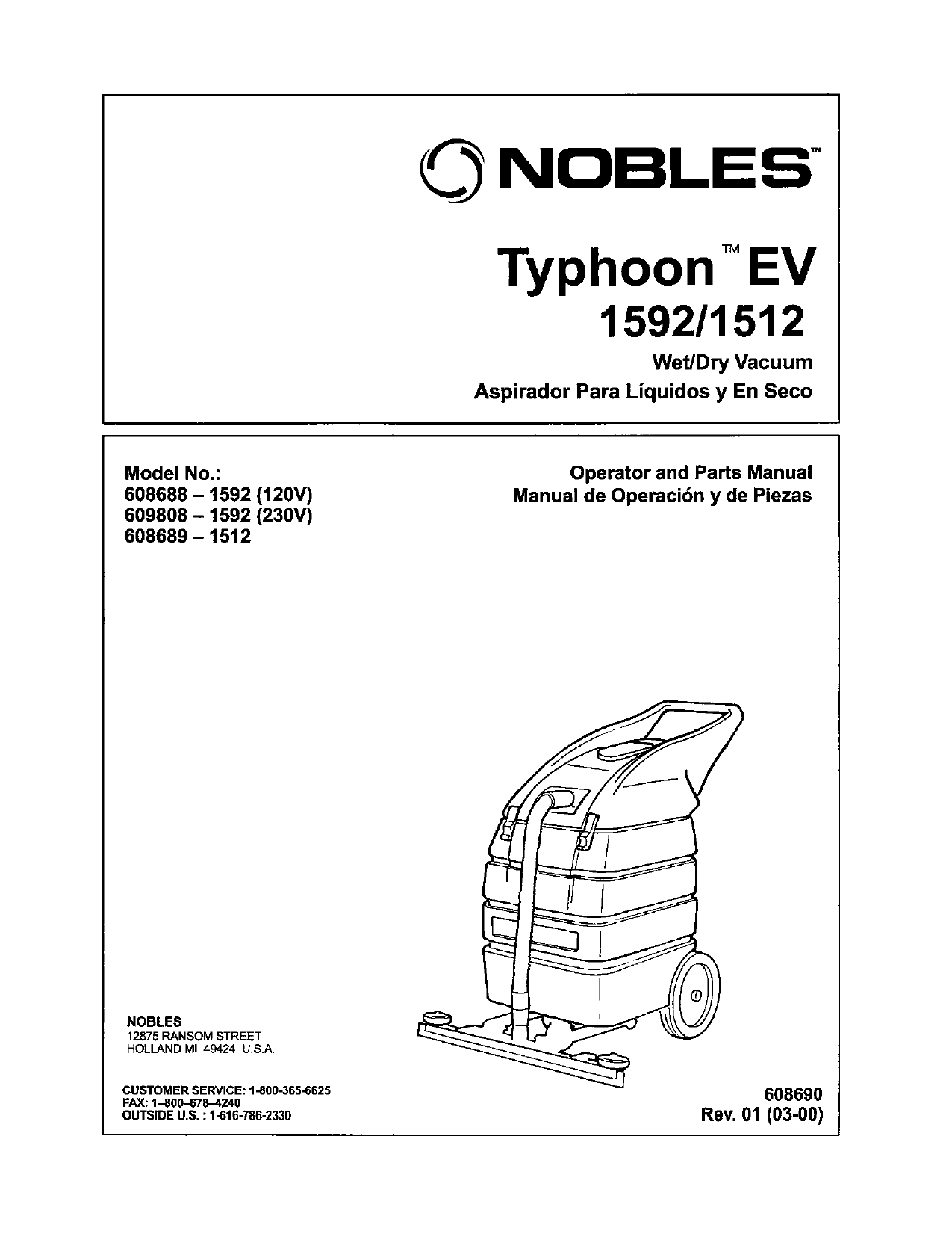 PDF manual for Nobles Vacuum Typhoon EV 1592