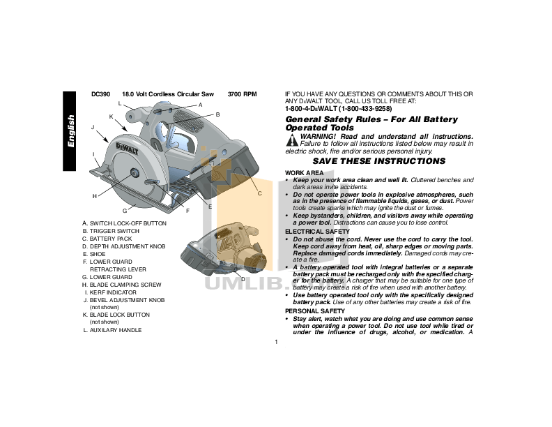 PDF manual for Dewalt Other DC390 Cordless Circular Saws