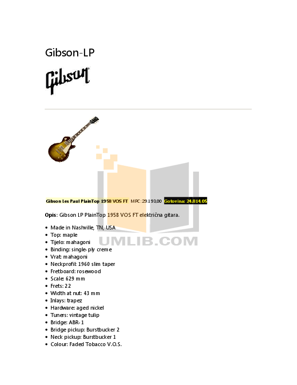 PDF manual for Epiphone Guitar 1958 Korina Explorer