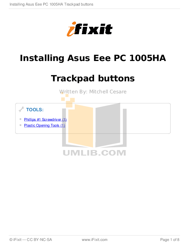 Download free pdf for Asus Eee PC 1005HA Laptop manual
