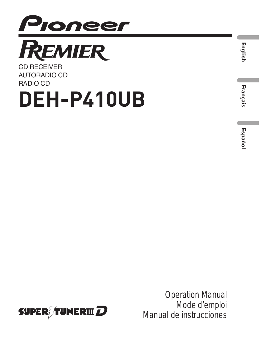 Download free pdf for Pioneer Premier DEH-P410UB Car