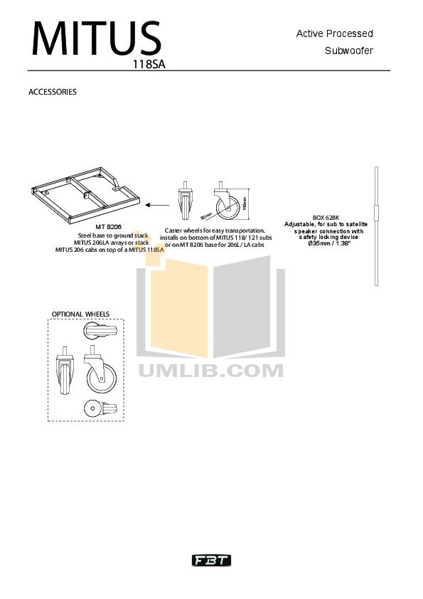 PDF manual for Fbt Subwoofer MODUS SUB