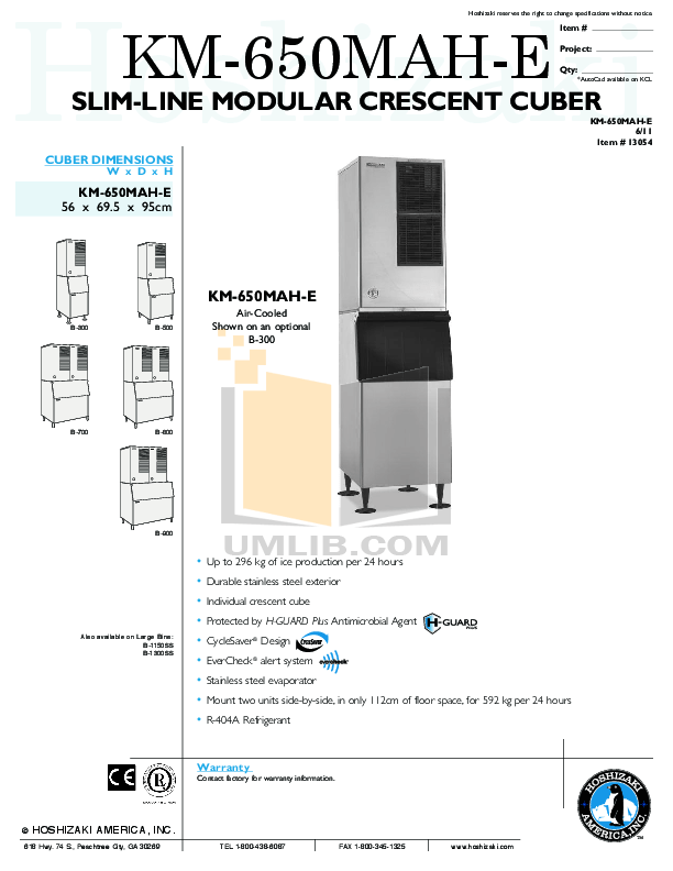Download free pdf for Hoshizaki KM-650MAH-E Cuber Machines