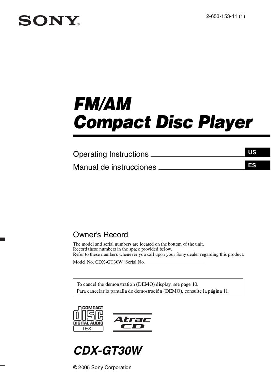 medium resolution of pdf for sony car receiver xplod cdx gt30w manual