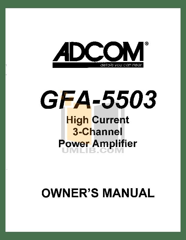 Download free pdf for Adcom GFA-5500 Amp manual