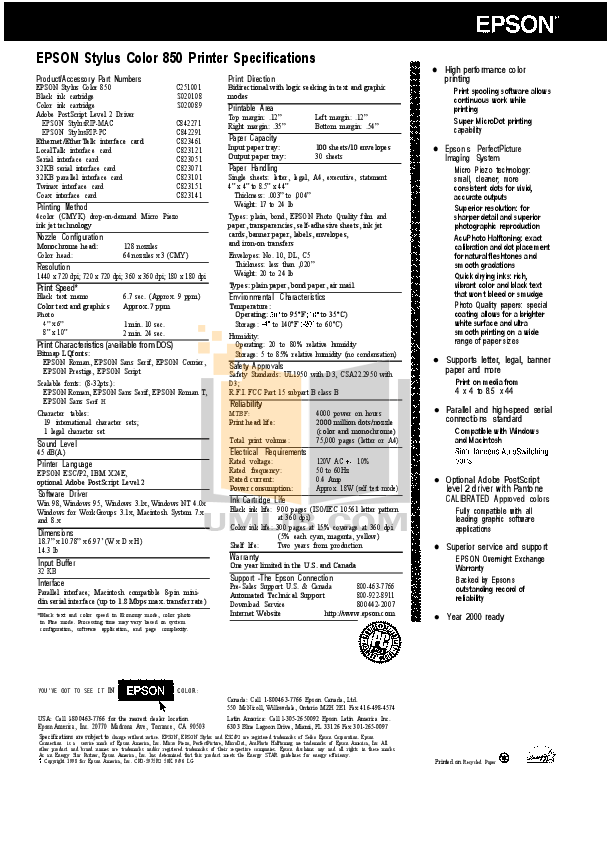 Download free pdf for Epson Stylus Color 850N Printer manual
