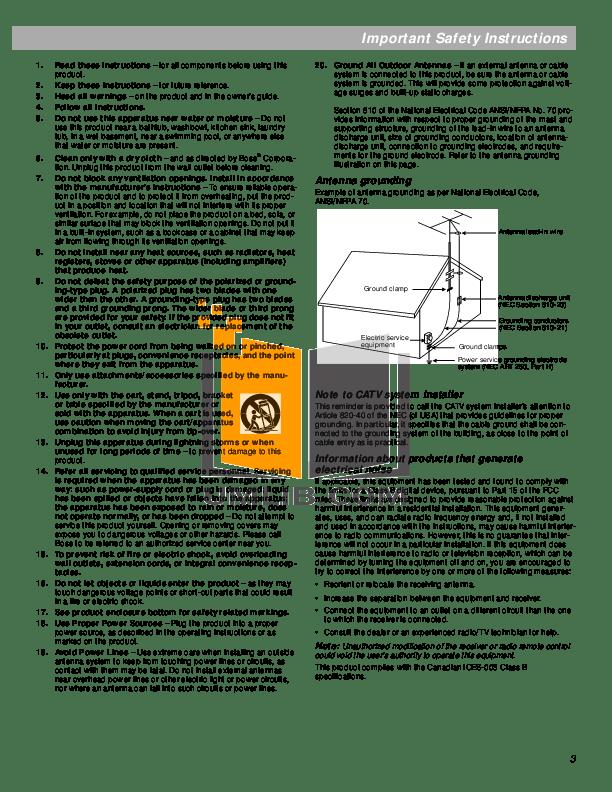 PDF manual for Bose Amp Lifestyle SA-1