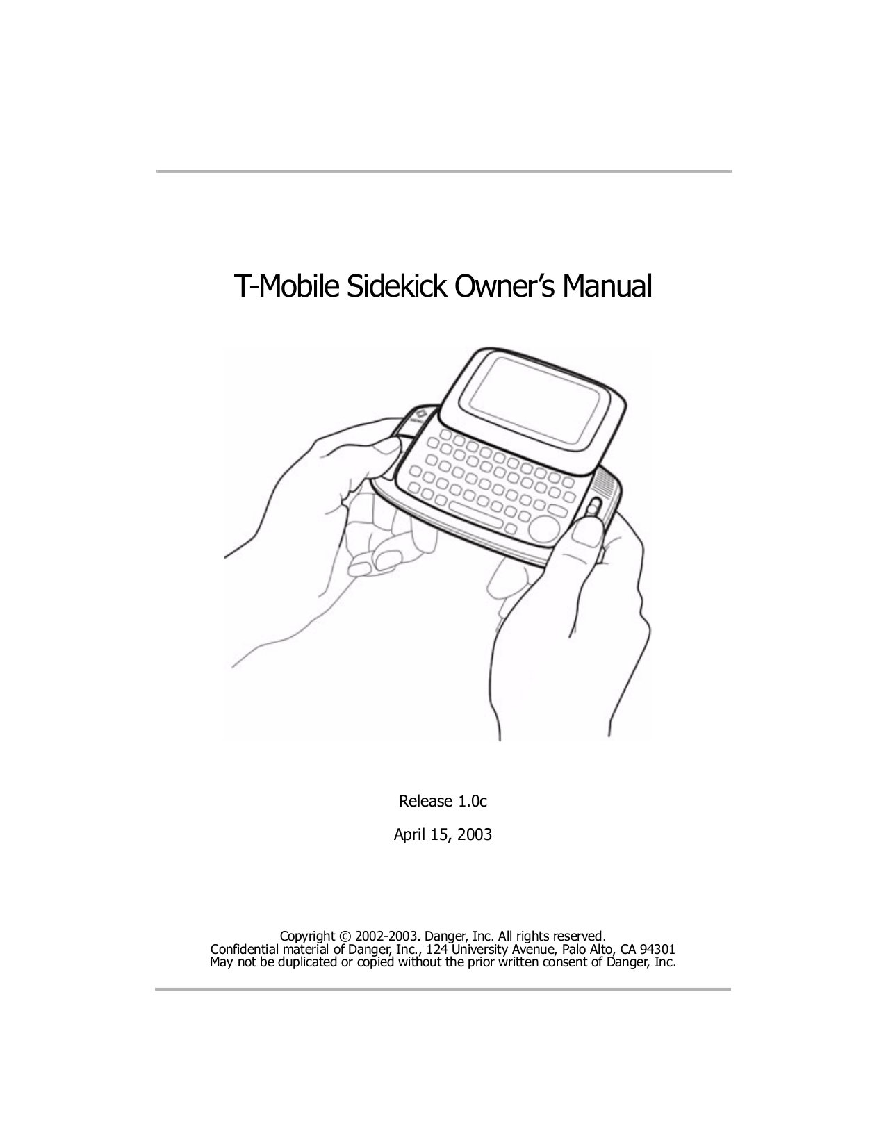 PDF manual for T-Mobile Cell Phone Sidekick