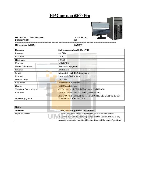 Download free pdf for HP Compaq 6200 Pro MT Desktop manual