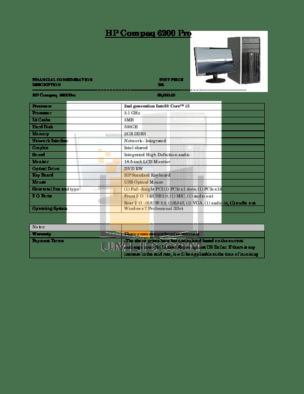 Download free pdf for HP Compaq 6200 Pro MT Desktop manual