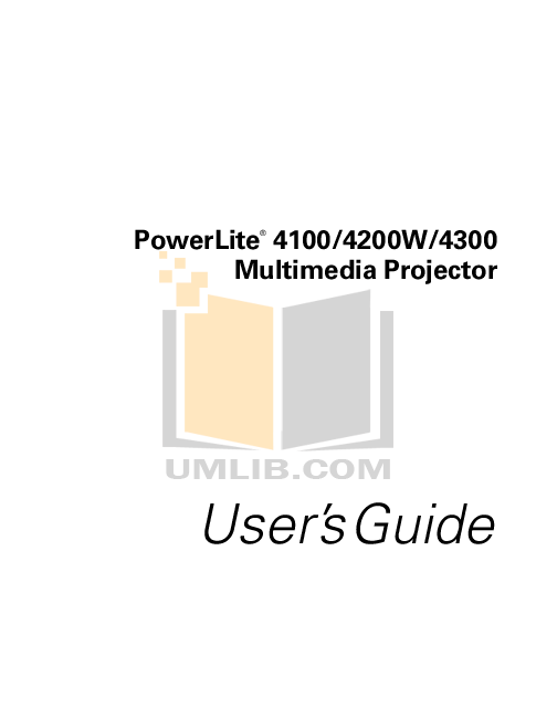 Download free pdf for Epson PowerLite 4100 Projector manual