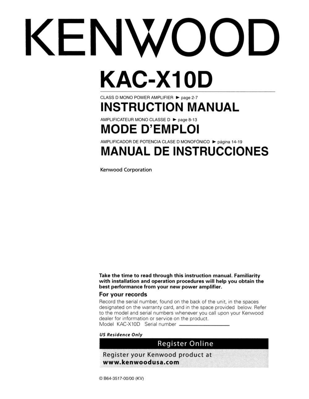medium resolution of pdf for kenwood car amplifier kac x10d manual